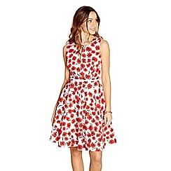 Yumi - Red poppy 'Winnie' sleeveless skater dress