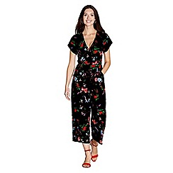 Yumi - Black floral print cropped jumpsuit