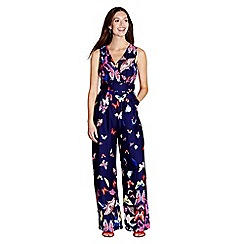 Yumi - Navy butterfly print wrap jumpsuit