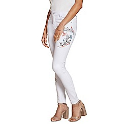 Yumi - White floral embroidered skinny jeans