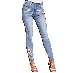 Yumi - Blue cherry blossom embroidered jeans