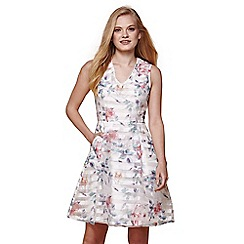 Yumi - Ivory floral embroidered sleeveless belt dress