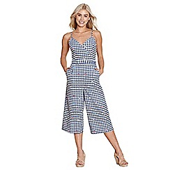 Yumi - Navy travel gingham jumpsuit