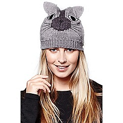 Yumi - Grey knitted cat hat with ears