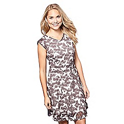 Yumi - Taupe butterfly print skater dress