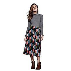 Yumi - Multicoloured pleated geometric skirt