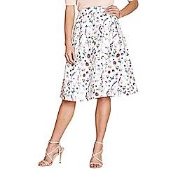 Yumi - Ivory botanical print jacquard skirt