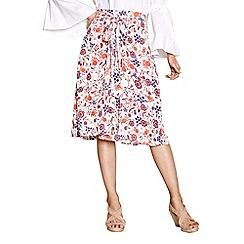 Yumi - Ivory swirled floral print skirt