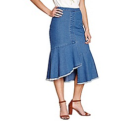 Yumi - Blue distressed hem denim skirt