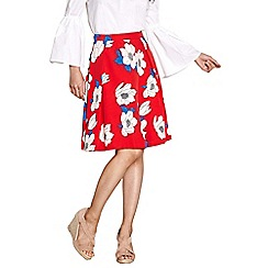 Yumi - Red statement floral skater skirt