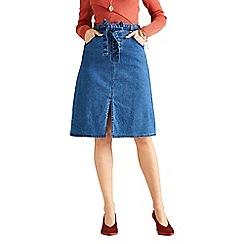Yumi - Navy split hem denim skirt