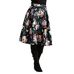 Yumi - Black jacquard botanical skirt
