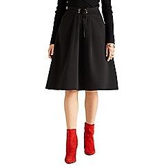 Yumi - Black ponte lace tie skirt