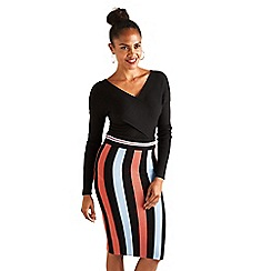 Yumi - Black striped knitted pencil skirt