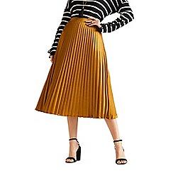 Yumi - Gold satin pleated midi skirt