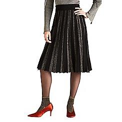 Yumi - Black metallic lurx pleated skirt