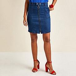 Yumi - Blue ring zipper denim skirt