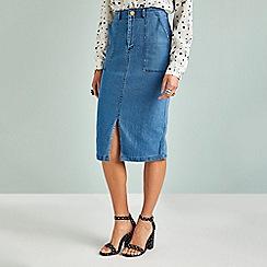 Yumi - Blue front split denim pencil skirt