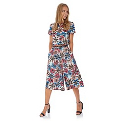 Yumi - Multicoloured  Big Floral Print Culottes