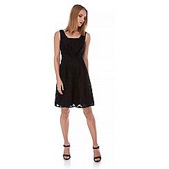 Yumi - Black Floral Jacquard Party Dress