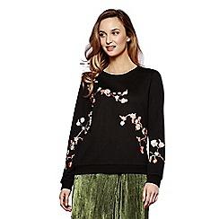 Yumi - Black oriental blossom embroidered jumper