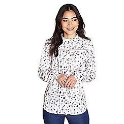 Yumi - Ivory frill collar botanical shirt