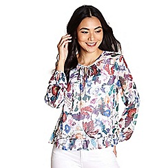 Yumi - Multicoloured sealife and flower print top