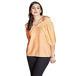 Yumi Curves - Light orange bubble print plus size top