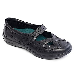 Padders - Black leather 'cello' wide fit shoes