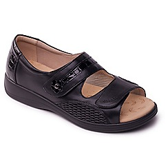 Padders - Black leather 'Grace' wide fit sandals