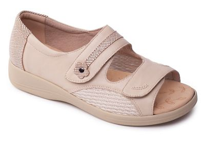 Padders - Beige leather 'Grace' wide fit sandals
