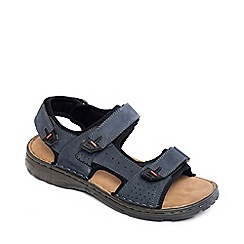 Padders - Navy leather 'ocean' wide fit sandals