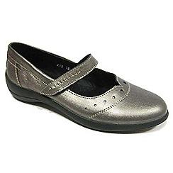 Padders - Metallic leather 'Rowyn' mid heel wide fit slip on shoes