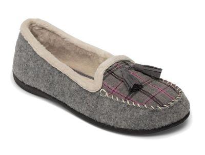Padders - Grey 'Tassel' wide fit moccasin slippers