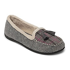 Padders - Grey 'Tassel' wide fit moccasin slippers
