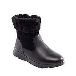 Padders - Black leather 'Re Play' mid heel wide fit ankle boots