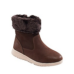 Padders - Light brown leather 'Re Play' mid heel wide fit ankle boots