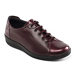 Padders - Wine leather 'Galaxy' mid heel lace up shoes