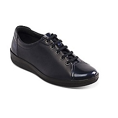 Padders - Navy leather 'Galaxy' mid heel lace up shoes