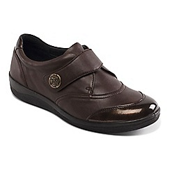 Padders - Light brown leather 'gaby' wide fit shoes