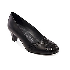 Padders - Black leather 'Janet' mid heel wide fit court shoes