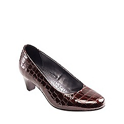 Padders - Brown leather 'Jane' mid heel wide fit court shoes