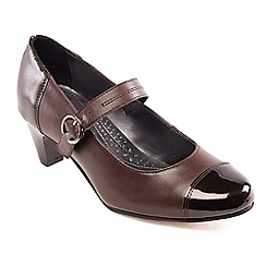 Padders - Light brown leather 'Jean' mid heel wide fit court shoes