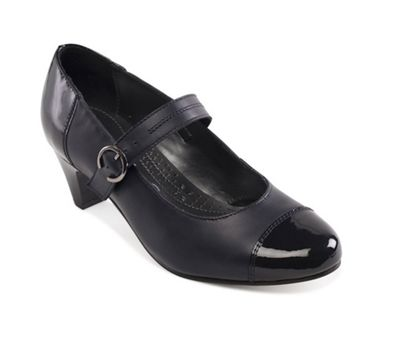 Padders - Navy leather 'Jean' mid heel wide fit court shoes