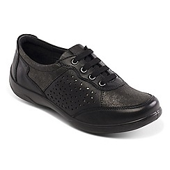 Padders - Black leather 'Harp' wide fit lace up shoes