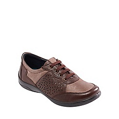 Padders - Light brown leather 'Harp' wide fit lace up shoes