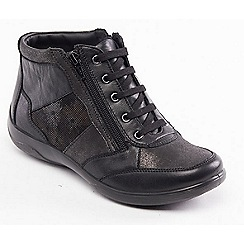 Padders - Black leather 'Piccolo' wide fit ankle boots