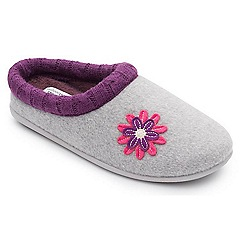 Padders - Grey 'Freesia' wide fit slippers