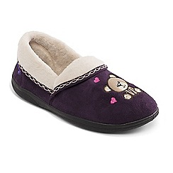 Padders - Purple 'Teddy' wide fit slippers