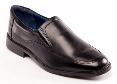 Padders - Black leather 'Bond' wide fit slip on shoes